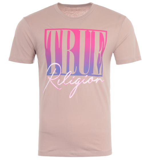 True Religion Ombre Logo Crew Neck T-Shirt - Old Pink