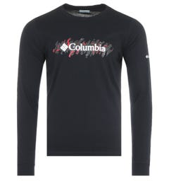 Columbia Lodge Retro Squiggle Long Sleeve T-Shirt - Black