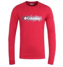 Columbia Lodge Retro Squiggle Long Sleeve T-Shirt - Red