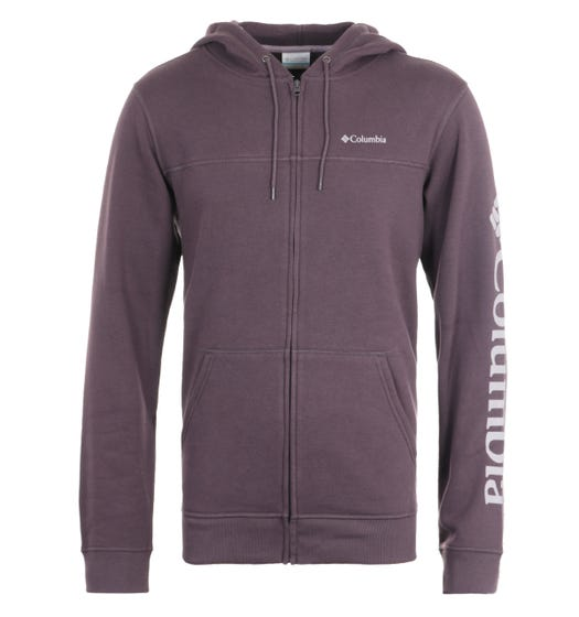 Columbia M Fleece Purple Logo Zip Hooded Sweatshirt