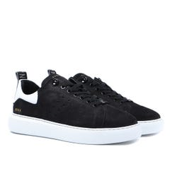 Nubikk Scott Black & White Nubuck Trainers
