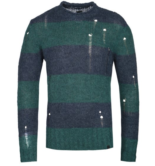 Pretty Green Distressed Detail Block Stripe Navy & Green Sweater