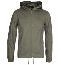 Pretty Green Zip Up Khaki Hooded Jacket