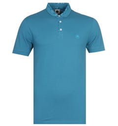 Pretty Green Slim Fit Tonal Paisley Collar Blue Polo Shirt