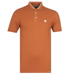 Pretty Green Slim Fit Tonal Paisley Collar Orange Polo Shirt