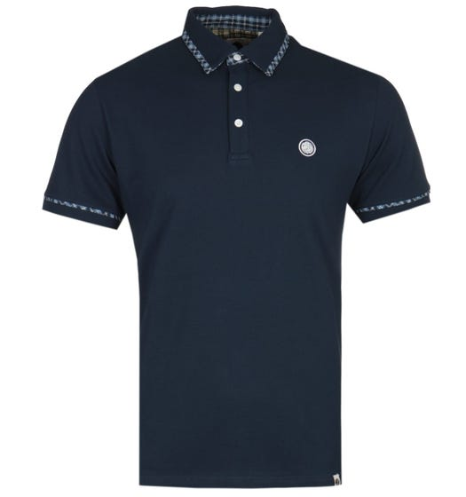 Pretty Green Check Detail Navy Blue Polo Shirt