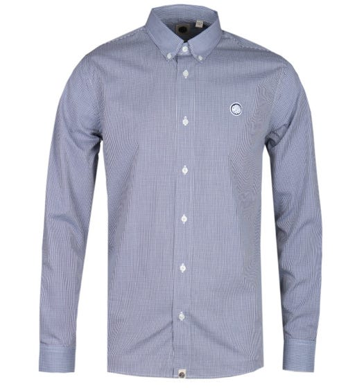 Pretty Green Classic Fit Fine Check Navy Shirt