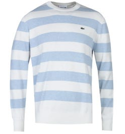 Lacoste Two-Tone Stripe Blue & White Kitted Sweater