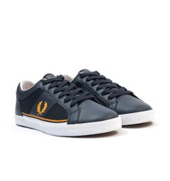 Fred Perry Baseline Mesh & Leather Trainers - Navy