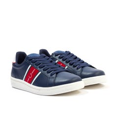 Fred Perry B721 Leather & Webbing Trainers - Carbon Blue
