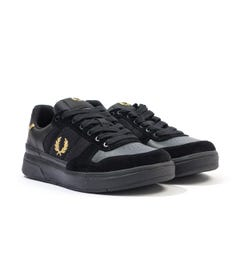 Fred Perry B300 Leather, Mesh & Suede Trainers - Black