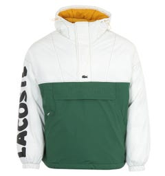 Lacoste Live Colour Block Pullover Hooded Jacket - White & Green