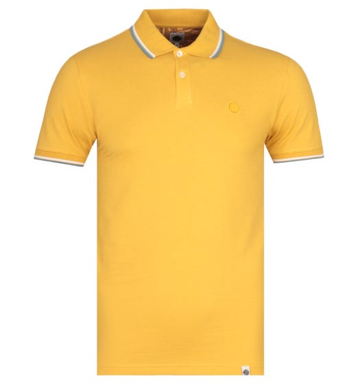 Pretty Green Twin Tipped Short Sleeve Yellow Pique Polo Shirt