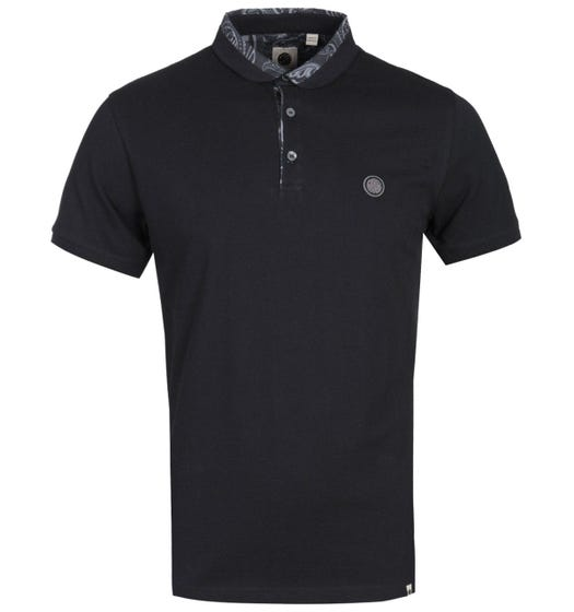 Pretty Green Paisley Collar Black Polo Shirt