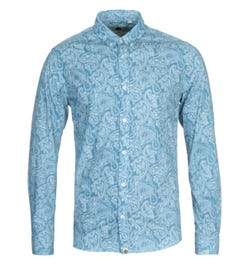 Pretty Green Slim Fit Paisley Print Blue Shirt