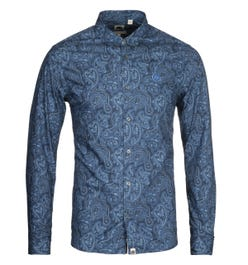 Pretty Green Slim Fit Paisley Print Navy Shirt