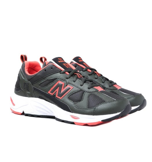 New Balance 878 Defense Green with Coral Glow Leather Trainers