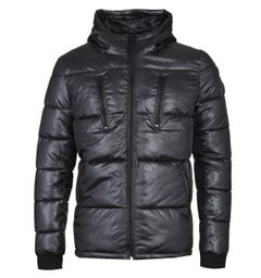 Schott Cosmos Shiny Quilted Black Jacket