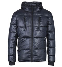 Schott Cosmos Shiny Quilted Navy Jacket