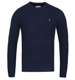 Farah Garway True Navy Marl Raglan Sweater