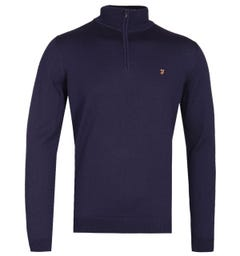 Farah Redchurch Quarter-Zip Raisin Navy Sweater