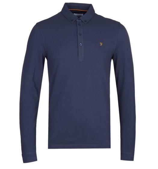 Farah Merriweather Navy Long Sleeve Pique Polo Shirt