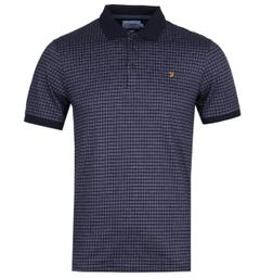 Farah Gantel Jacquard True Navy Polo Shirt