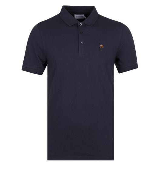 Farah Blaney Navy Pique Polo Shirt