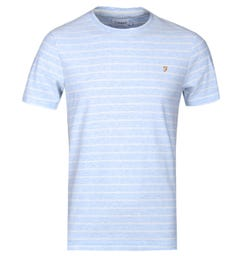 Farah Salford Lake Blue Marl Stripe Crew T-Shirt