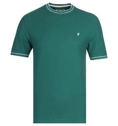 Farah Liverpool Modern Fit Honeycomb Power Hides Green T-Shirt