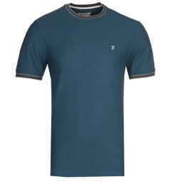 Farah Liverpool Modern Fit Honeycomb Teal T-Shirt