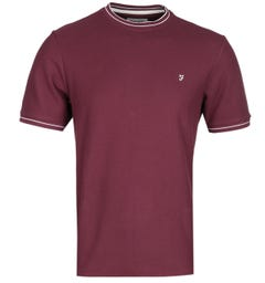 Farah Liverpool Modern Fit Honeycomb Burgundy T-Shirt