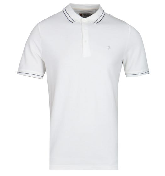 Farah GYP Honeycomb Modern Fit Off White Polo Shirt