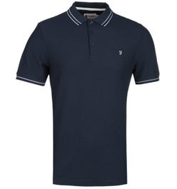 Farah GYP Honeycomb Modern Fit Navy Polo Shirt