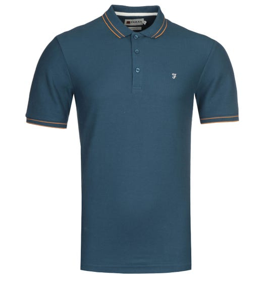 Farah GYP Honeycomb Modern Fit Teal Polo Shirt