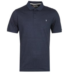 Farah Gower Modern Fit Dot Pattern Navy Polo Shirt