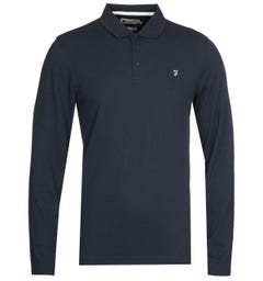 Farah Simmons Long Sleeve Navy Polo Shirt