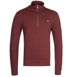 Farah Aintree Quarter-Zip Burgundy Sweatshirt