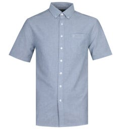 Farah Regular Fit Short Sleeve Button-Down Navy Shirt