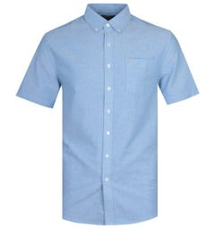 Farah Modern Fit Short Sleeve Button-Down regatta Blue Shirt