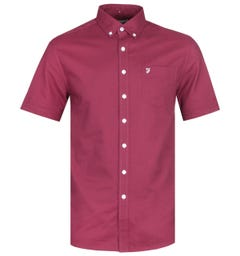 Farah Regular Fit Short Sleeve Button-Down Raisin Red Shirt