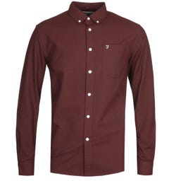 Farah Drayton Long Sleeve Burgundy Shirt