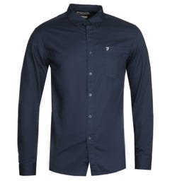 Farah Patterson Long Sleeve Navy Shirt