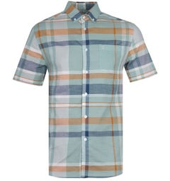 Farah Farron Modern Fit Pastel Green Checked Short Sleeve Shirt