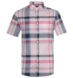 Farah Farron Modern Fit Pastel Pink Checked Short Sleeve Shirt