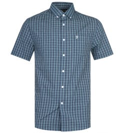 Farah Orbison Modern Fit Short Sleeve Powder Hides Green Check Shirt