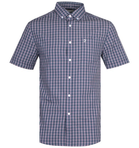 Farah Orbison Modern Fit Short Sleeve Raisin Red Check Shirt