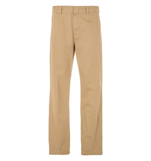 Lacoste LIVE Cotton Twill Straight Fit Chino Pants  - Beige