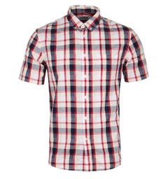 Edwin Red Garment Dyed Short Sleeve Button-Down Shirt