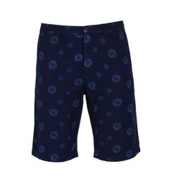 Edwin Indigo Abstract Flower Rail Short